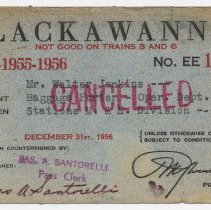 Image of Pass / ticket: D.L.& W. R.R. Employee Pass issued to Walter Jenkins, Baggage Porter, Operating Dept., M&E Div., 1954-1956.  - Ticket, Transportation