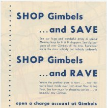 Image of reverse, Gimbels advertisement