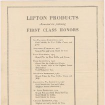 Image of side 2: Lipton Products Awarded the following First Class Honors
