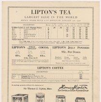 Image of side 1: price list Lipton's Tea, Cocoa, Jelly Powders, Coffee