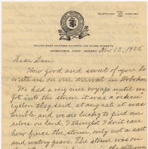 Image of Letter on Meyers Hotel, Hoboken, stationery. Written by an Uncle John & Aunt Ida in Hoboken; posted to Daniel Zutt, Louisville, Ky., Nov. 13, 1925. - Letter