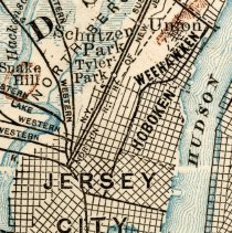 Image of detail of map with Hoboken, Weehawken & Jersey City