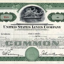 Image of Stock certificate: United States Lines Co., N.Y. & Hoboken; issued Oct. 7, 1948 for 50 shares. - Certificate, Stock