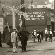 Image of detail left center: railroad crossing signs; Lehigh Coal Supply Co.