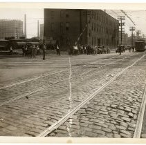 Image of B+W photo looking south on Willow Ave. to 17th St.; streetcar tracks & freight rail crossing, Hoboken, n.d., (1927). - Print, Photographic