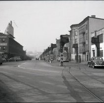 Image of B+W photo negative of partly demolished trestle for former elevated streetcar lines on Observer Highway under demolition, Hoboken, n.d., ca. late 1949 or early 1950.  - Negative, Roll Film