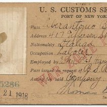 Image of Photos of War Zone Pass, U.S. Customs Service, Port of New York issued to Liberantonio Bonsanto, 417 Jefferson St., Hoboken, N.J., May 21, 1918. - Card, Identification