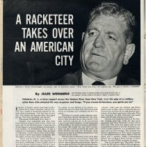 Image of Article (re Edward J. Florio): A Racketeer Takes Over an American City. By Jules Weinberg. Look, July 17, 1951; Log Cabin ad. - Article