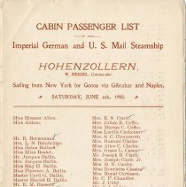 Image of pg [1] Cabin Passenger List, Hohenzollern, June 6, 1903