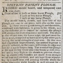 Image of Ad for Stevens' Patent Plough, page [4], column 1; enhanced