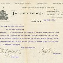 Image of Letter to Mayor & Hoboken City Council from Board of Free Public Library Trustees, requisition for current expenses, May 25, 1904. - Correspondence