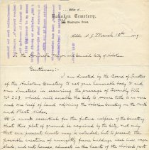 Image of Letter to Mayor & City Council, Hoboken from Hoboken Cemetery Trustees, March 10, 1909, requesting support for Assembly bill enabling city to buy land adjoining cemetery. - Correspondence
