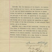 Image of Resolution directing opposition to Hudson County subway, Hoboken City Council, March 8, 1911. - Resolution