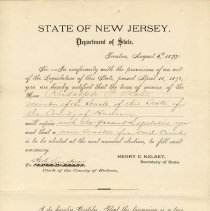 Image of Notice from Clerk Hudson County re term of Rudolph F. Rabe, member of State Senate for Hudson County will expire; August 5, 1880. - Notice, Legal