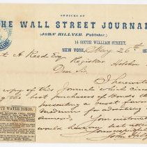 Image of Letter & proof from John Hillyer, Publisher, The Wall Street Journal sent to Robert A. Reed, Registrar, Bd. of Water Commissioners, Hoboken, May 26, 1870. - Correspondence