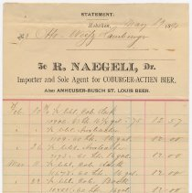 Image of Statement for Mr. Otto Weitz Hamburger for beers from R. Naegeli, Hoboken, May 19, 1890. - Bill