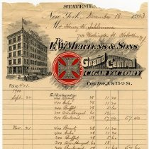 Image of statement F.W. Mertens & Sons, Grand Central Cigar Factory