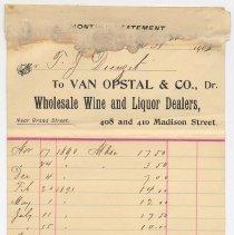 Image of Statement from Van Opstal & Co., Wholesale Wine & Liquor Dealers, 408-410 Madison St., Hoboken, to T. J. Dienzet, Dec. 31, 1903. - Bill of Sale