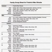 Image of Friedrich Max Straube, family group sheet , pg  1 of 2