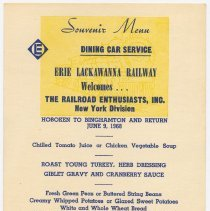 Image of Menu, souvenir: Erie Lackawanna Railway; The Railroad Enthusiasts; issued Hoboken, June 9, 1968. - Menu