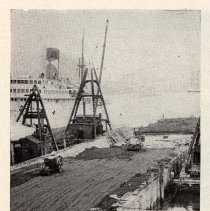 Image of detail photo (Fig. 2) pg 73: rolling cinder fill on top of old pier piles