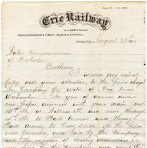 Image of Letter from Erie Railway, Jersey City, to Water Commissioners of Hoboken, Aug. 28, 1876 re water charges for company's Weehawken coal docks. - Letter