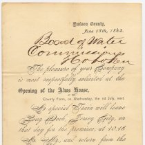 Image of Invitation to Board of Water Commissioners, Hoboken from Board of Chosen Freeholders, Hudson County to attend opening of Alms House, County Farm, July 1, 1863. - Correspondence