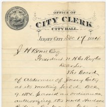 Image of Note from City Clerk, Jersey City to J.H. Bonn, Pres., N. Hudson Rwy Co., re ordinance approving elevated line, Dec. 17, 1884. - Correspondence