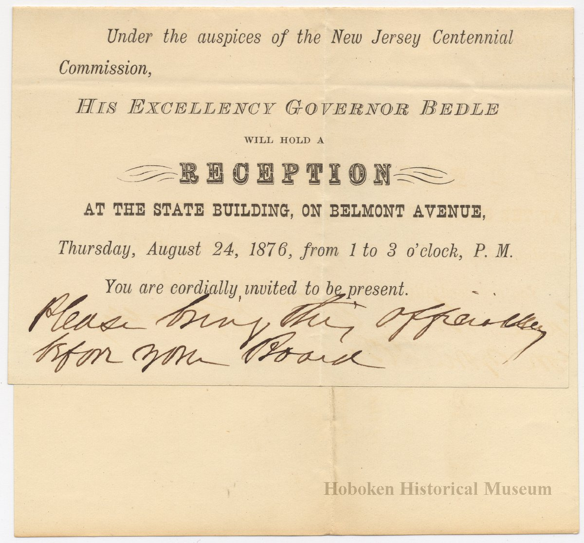 Announcement invitation aug 4 1876 to city of hoboken by nj title announcement invitation stopboris Gallery