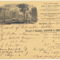 Image of Statement: Clark, Austin & Smith, Dealers in Books & Stationery, N.Y. to Board of Education, Hoboken, Jan. 19, 1859, for books and supplies. - Bill of Sale