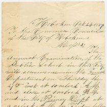 Image of Letter of invitation from Seba Bogert, Supt. of Schools, Hoboken & Jonas B. Davis, Principal, to City Council, Oct. 24, 1859, for Annual Examination of Public School.  - Correspondence