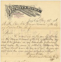 Image of Letter: Sheriff Ferdinand Heintze, Sheriff's Office, Hudson County, N.J. to Mayor & City Council, Hoboken, May 15, 1886 re collection in the case of Stuhr vs Mayor & Council. - Correspondence