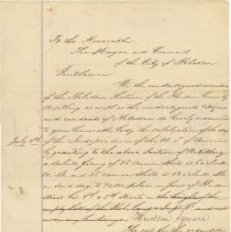 Image of Petition: Hoboken Section, Hudson County Artillery & citizens to Mayor & City Council, June 13, 1866, requesting 50 dollars for July 4th celebration cannon ammunition.  - Correspondence