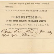 Image of Announcement & invitation Aug. 4, 1876 to City of Hoboken by N.J. Centennial Comm. to attend reception by Governor Bedle at the State Bldg., Aug. 24, 1876.  - Invitation