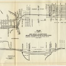 Image of [sect 3 plates] 8: Proposed Tunnel - Borings; Bed Rock Elevations