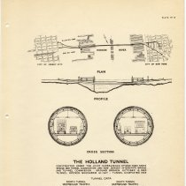 Image of [sect 3 plates] 15: plan, profile, cross section, The Holland Tunnel