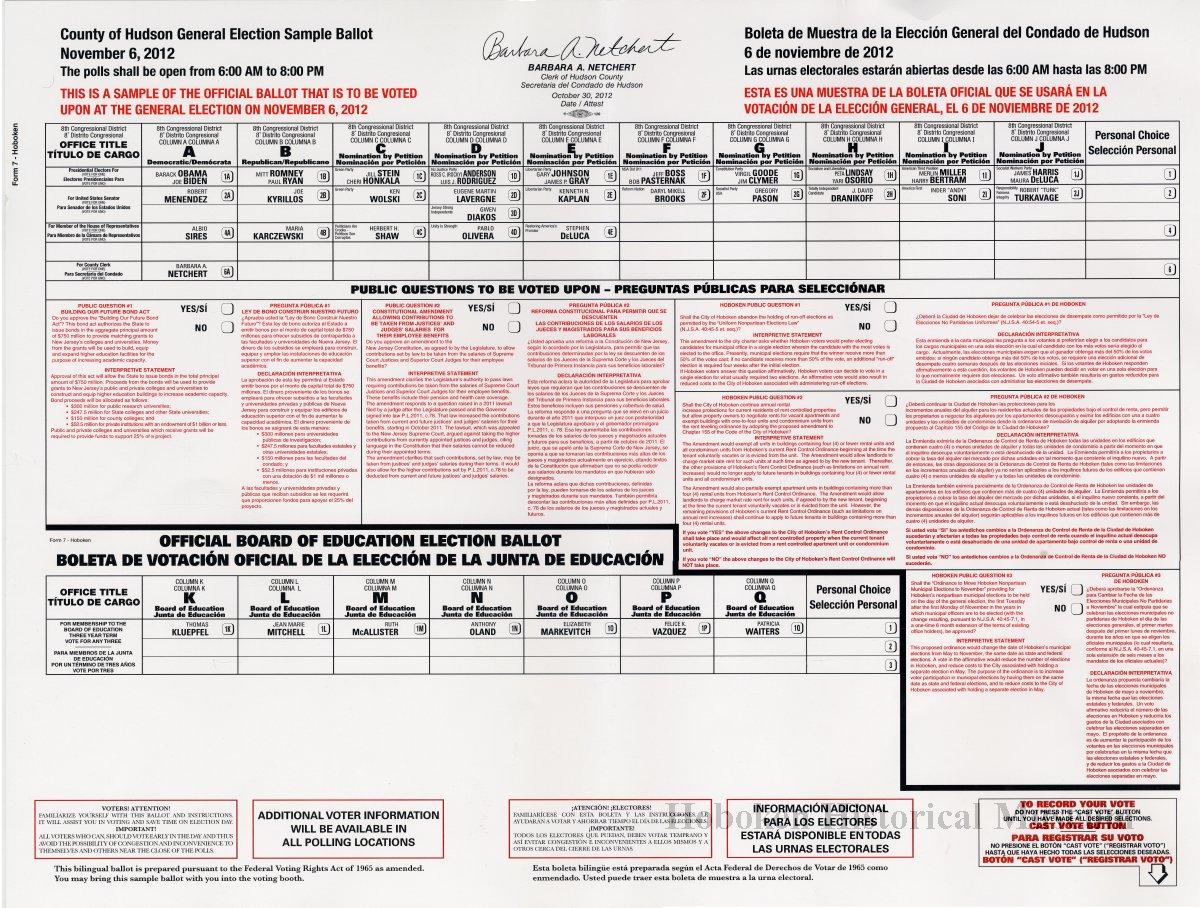 General Election Sample Ballot, Hudson County, Hoboken, Nov. 6 ...