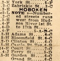 Image of detail street index for Hoboken