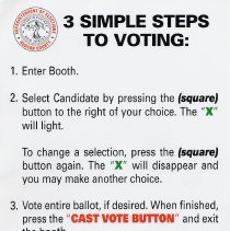 Image of 3 Sign: 3 Simple Steps to Voting (English language version of no. 4)