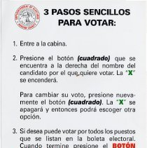 Image of 4 sign: 3 Pasos Sencillos Para Votar (Spanish language version of no. 3)