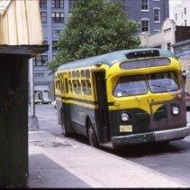 Image of Color slide of Maria Transport Co. Washington St. bus on Hudson Pl., Hoboken, June 25, 1972.  - Transparency, Slide