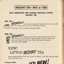 Image of pg 58 Instant Tea - Hot or Iced; New! Lipton Instant Tea