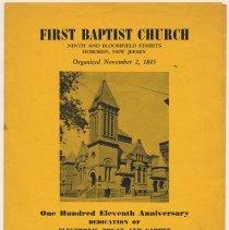 Image of Program: First Baptist Church, 9th & Bloomfield, Hoboken, N.J. 111th Anniversary Celebration; Dedication of New Organ & Carpet, Oct. 18, 1956. - Program