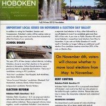 Image of Hoboken. Fall / Winter 2012 Newsletter. Dawn Zimmer, Mayor. - Newsletter