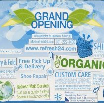 Image of Postcard: Grand Opening. Refresh24 Dry Cleaners, 113 Washington St., Hoboken. - Postcard