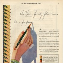 Image of Ad: Venus Pencils, A Venus fairly flows over the paper. American Pencil Co., Venus Building, Hoboken; Sat. Evening Post, Aug. 16, 1930. - Ad, Magazine