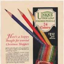 Image of Ad, magazine: Venus Pencils; Here's a happy thought for worried Christmas Shoppers... American Pencil Co., Hoboken, N.J., n.d., ca. fall 1929. - Ad, Magazine