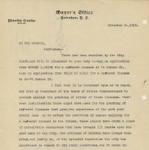 Image of Letter: Mayor Martin Cooke to Hoboken City Council, Nov. 11, 1913 protesting the granting of a cabaret license. - Correspondence