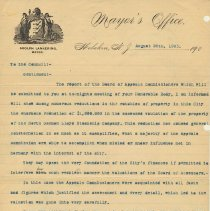 Image of Letter: Mayor Adolph Lankering to Hoboken City Council, Aug. 19, 1903, re NGL property assessment. - Correspondence