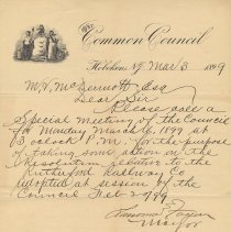 Image of Letter: Mayor Lawrence Fagan to City Clerk M.V. McDermott, March 3, 1899, re calling a special session of City Council re Rutherford Railway Co. resolution. - Correspondence